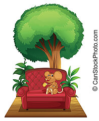 A chair under the tree with a mouse