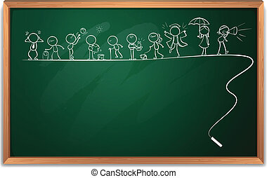 A chalkboard with a drawing of children