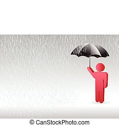 a character of man standing up in the rain with an umbrella in the hand