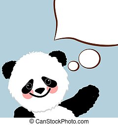 A character panda with a white cloud design element speech dialogue