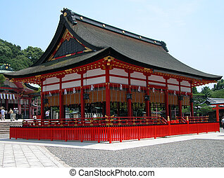 A characteristic wooden building from Inari Shrine, Kyoto, Japan