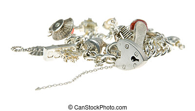 a charm bracelet isolated on a white background with padlock in focus