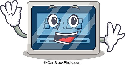 A charming digital timer mascot design style smiling and waving hand. Vector illustration
