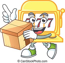 A charming golden slot machine mascot design style having a box