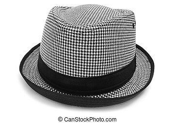 hat - a checkered hat on a white background