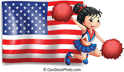 A cheerer and the USA flag