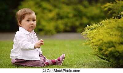 A cheerful baby-girl is sitting on the green grass near the...