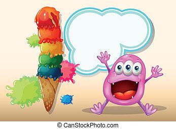 A cheerful beanie monster near the icecream