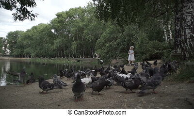 A cheerful girl chases pigeons in the park