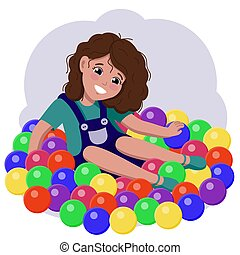 A cheerful girl is sitting in colorful balloons and smiling .