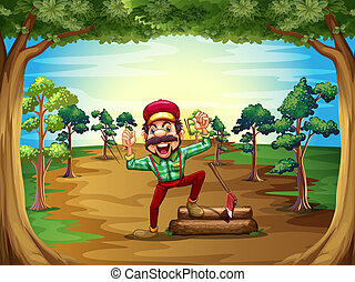 A cheerful lumberjack in the middle of the trees -...