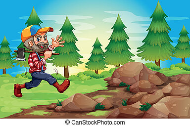 A cheerful lumberjack near the rocks