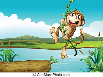 A cheerful monkey playing with the vine plant
