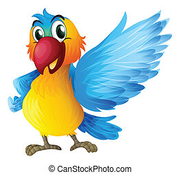Illustration of a cheerful parrot on a white background
