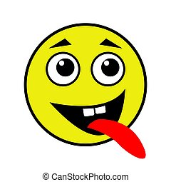 A cheerful smiley shows the tongue