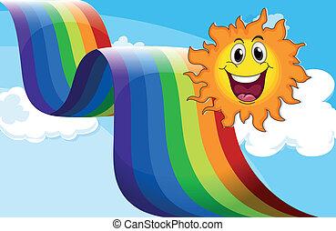 A cheerful sun near the rainbow