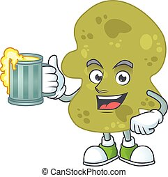 A cheerful verrucomicrobia cartoon mascot style toast with a glass of beer