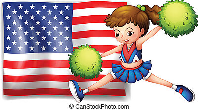 A cheerleader and the USA flag