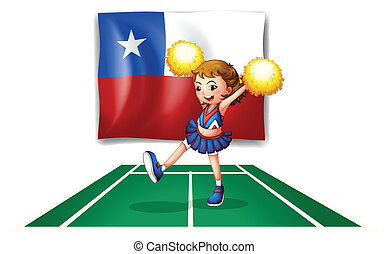 A cheerleader dancing in front of the Chile flag