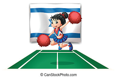 A cheerleader dancing in front of the Israel flag