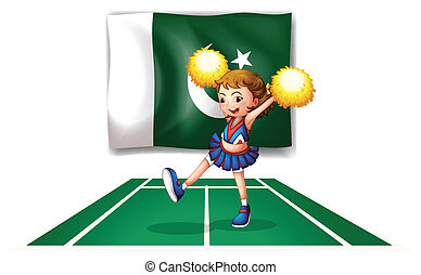 A cheerleader dancing in front of the Pakistan flag
