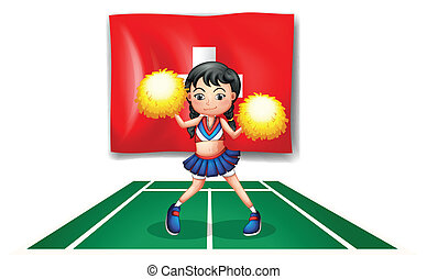A cheerleader dancing in front of the Switzerland flag