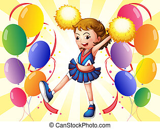 A cheerleader dancing in the middle of the balloons