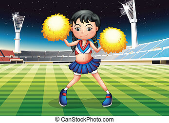 A cheerleader dancing in the stadium with her yellow pompoms