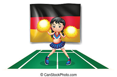 A cheerleader in front of the German flag