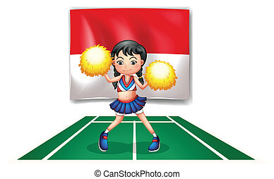 A cheerleader in front of the Indonesian Flag