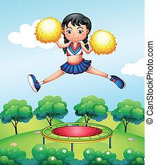 A cheerleader jumping