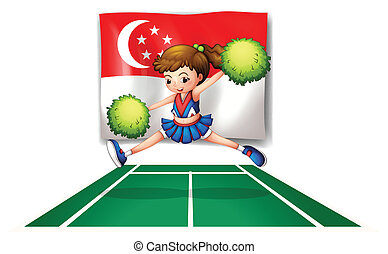 A cheerleader with green pompoms and the flag of Singapore -...