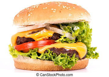 a cheeseburger with tomato, salad and onions on white background
