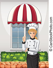 A chef in front of the restaurant