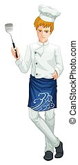 A Chef on White Background