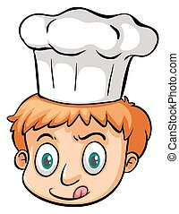 Young chef on a white background