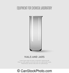 A chemical flask. Equipment for chemical laboratory. Transparent glass chemical flask Vector illustration