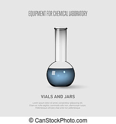 A chemical flask with blue liquid. Equipment for chemical laboratory. Transparent glass chemical flask Vector illustration