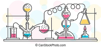 chemical reaction - A chemical reaction consisting of flasks...