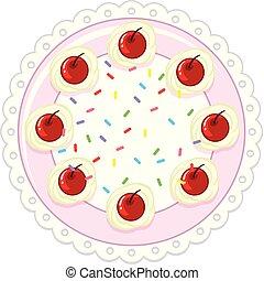 A cherry cake on white background