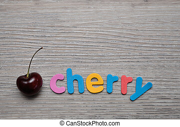 A cherry with the word cherry