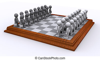 A Chess board of Business people. Business strategy concept...