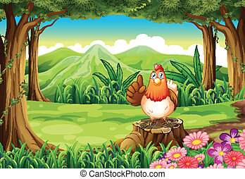 A chicken at the forest - Illustration of a chicken at the...