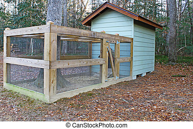 A chicken coupe and pen built around an old white oak tree with room for your text