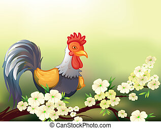 A chicken in a cherry blossom tree