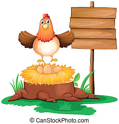 A chicken with a nest above a trunk near a signage