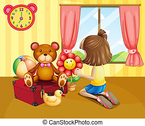 A child arranging her toys inside the house - Illustration...