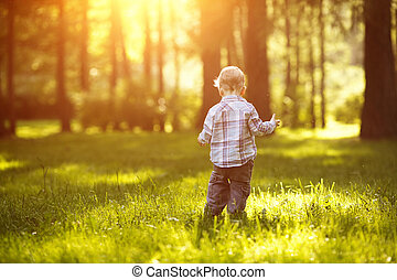 A child at sunset, back light. Kid on the meadow in the park