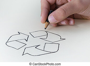 A child drawing the recycling symbol with a very short pencil stub? expressing the concept of the conservation of the Earth's Resources