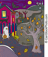 A child dressed as a ghost trick or treating on Halloween